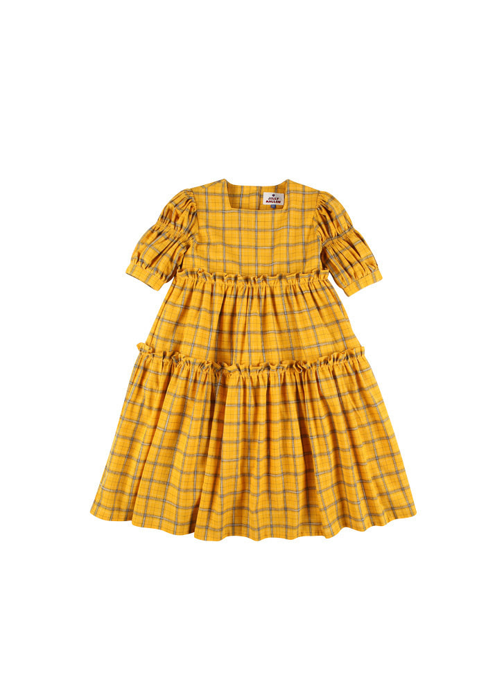 Check balloon dress_Baby_Yellow