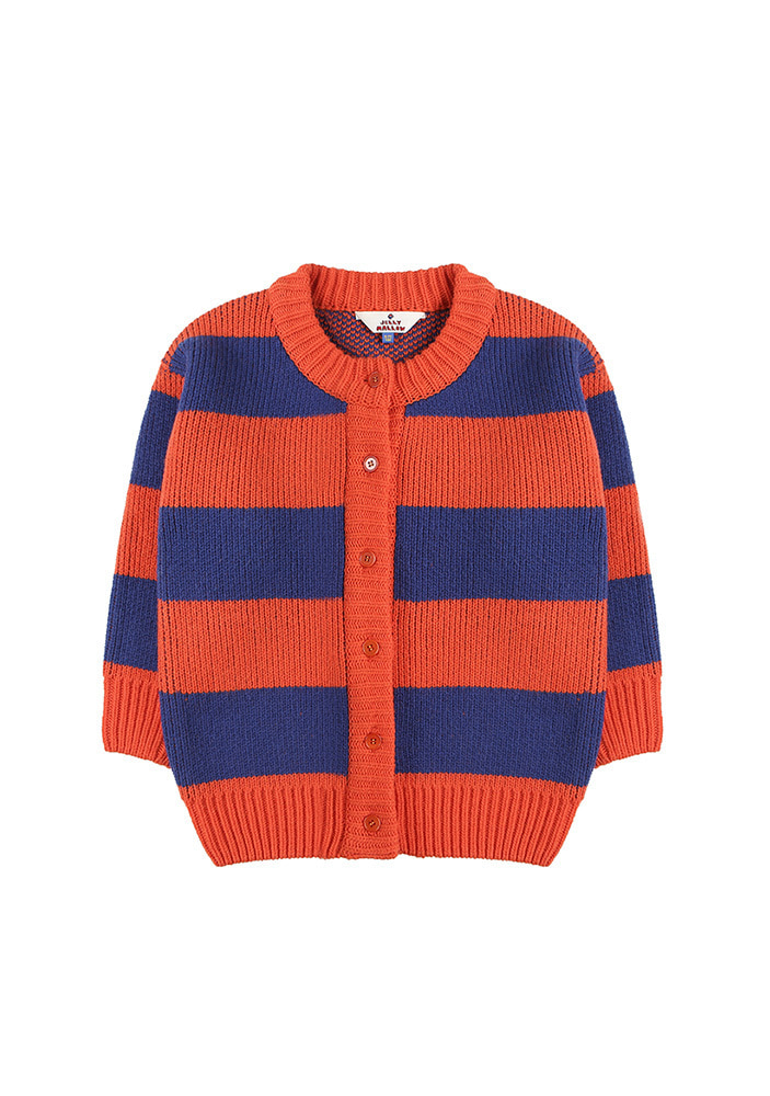 STRIPED WOOL CARDIGAN_Orange&Blue