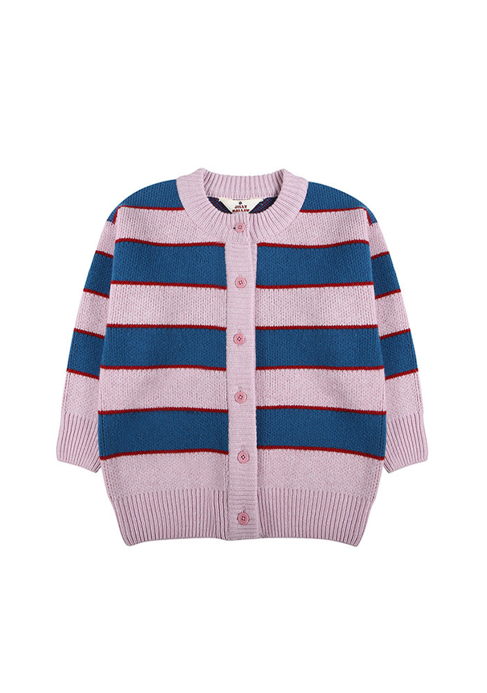 STRIPED WOOL CARDIGAN_Pink&Blue