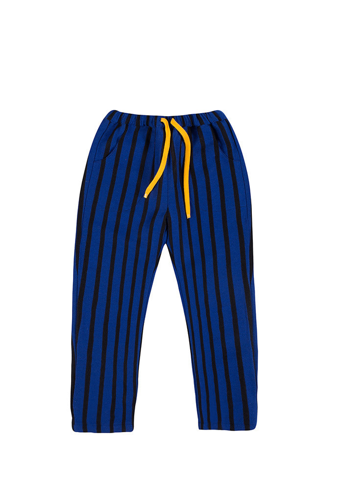 WOOL STRIPED PANTS_Blue