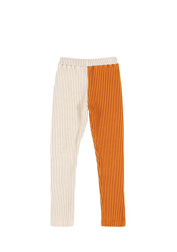 CORDUROY LEGGINGS_Kids_Ivory & Orange