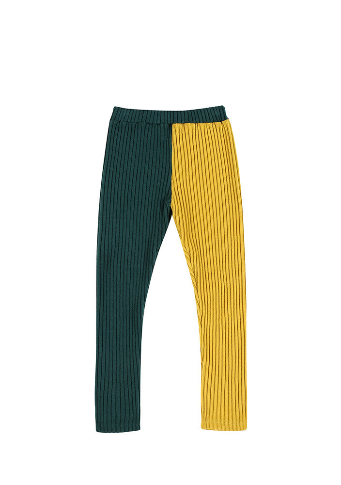 CORDUROY LEGGINGS_Kids_Green & Yellow