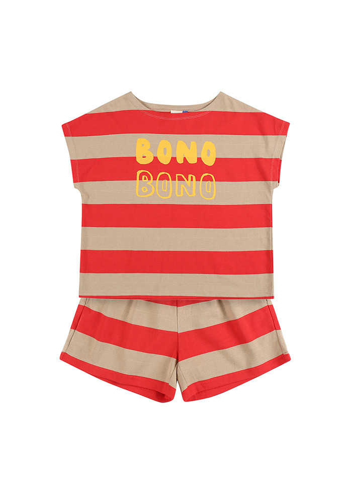 BONO STRIPE COTTON SET_Red&Beige_Baby