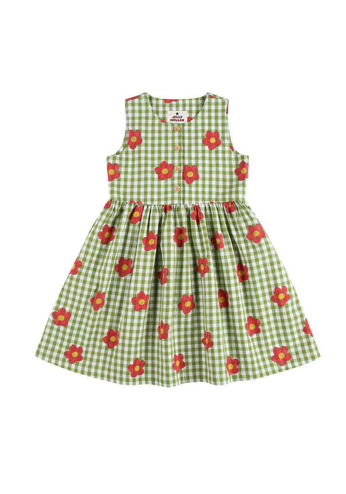 FLOWER CHECK DRESS_Kids